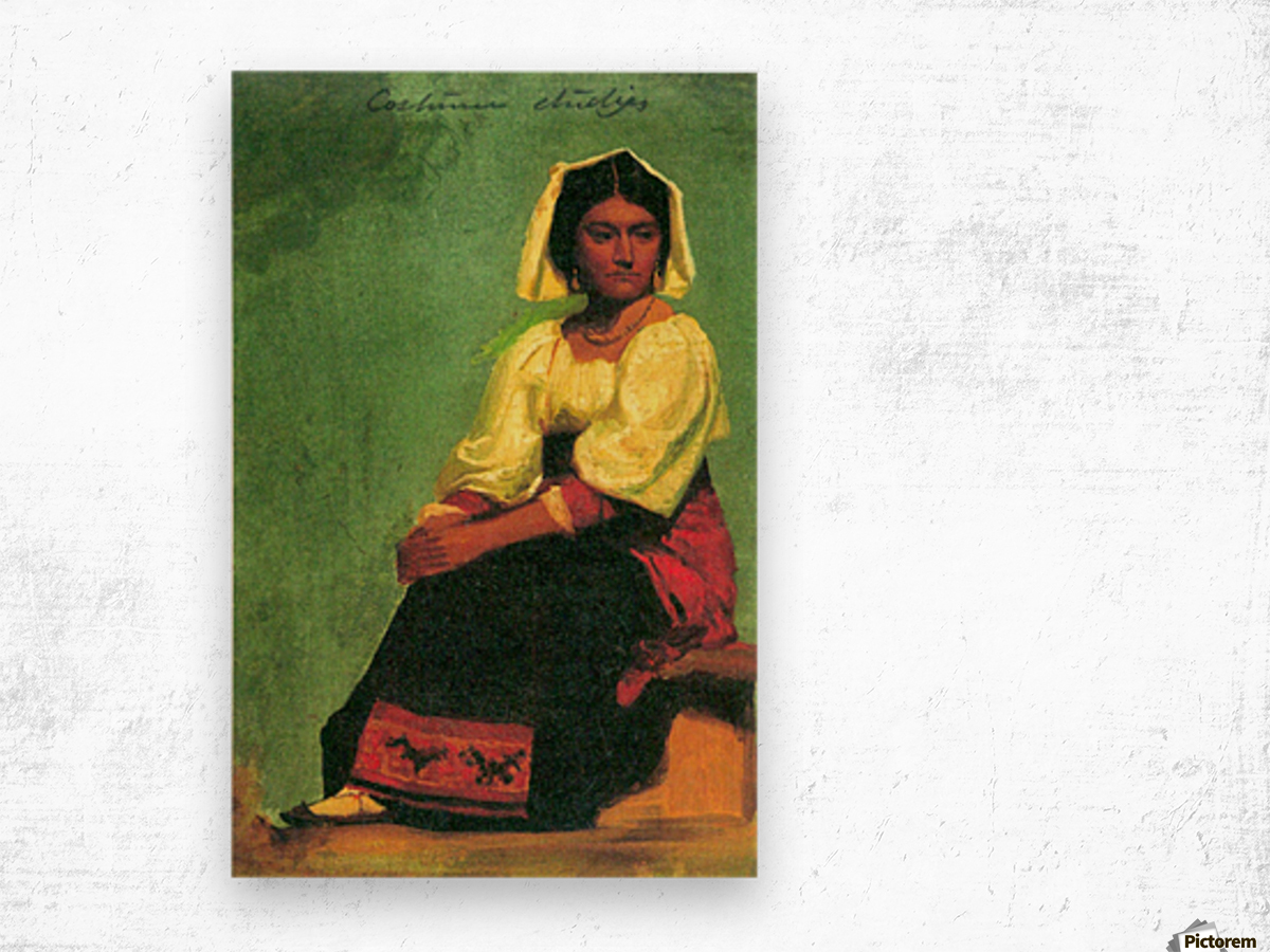 Costume study of a seated woman by Bierstadt Wood print
