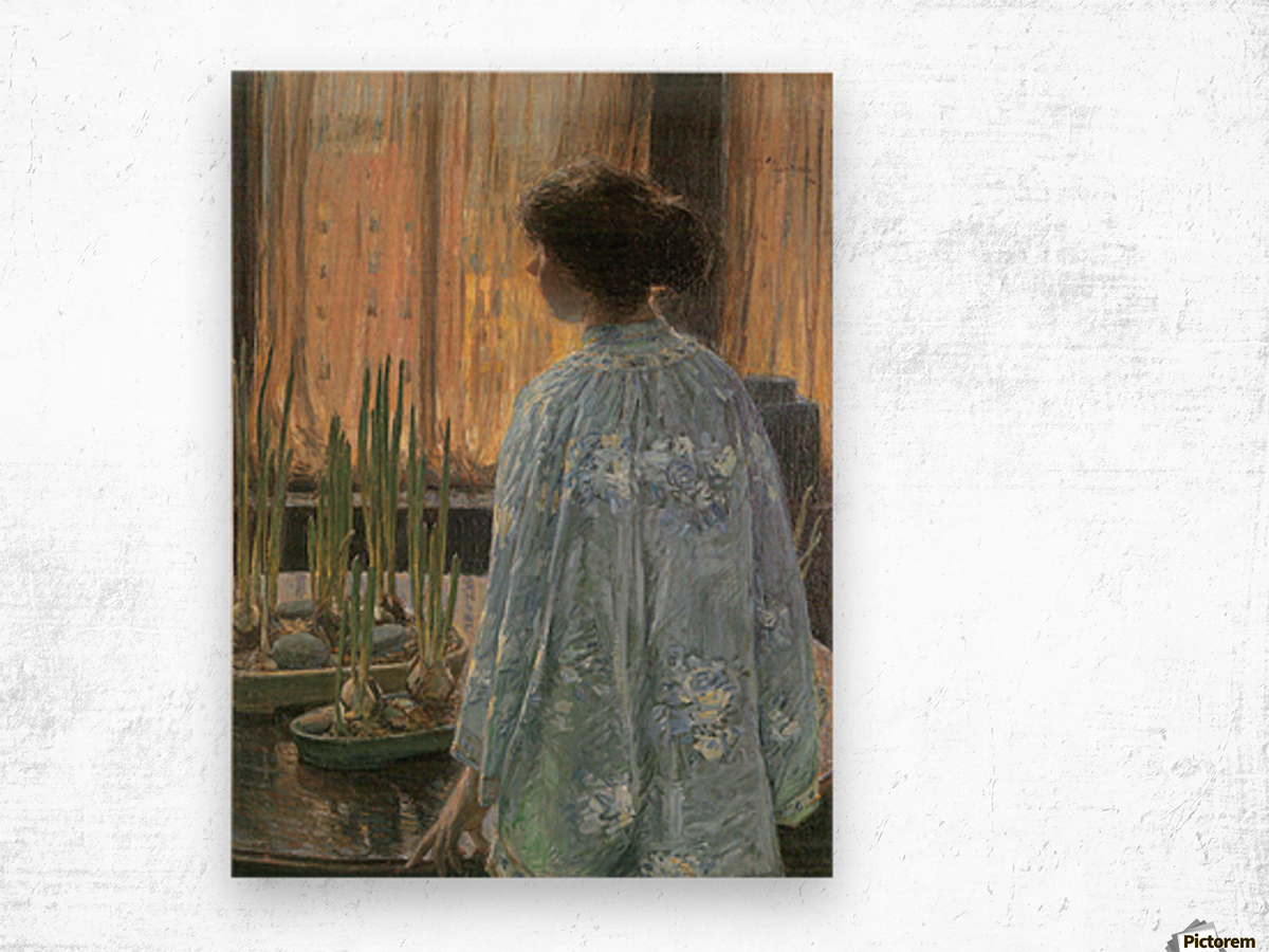 The table garden by Hassam Wood print