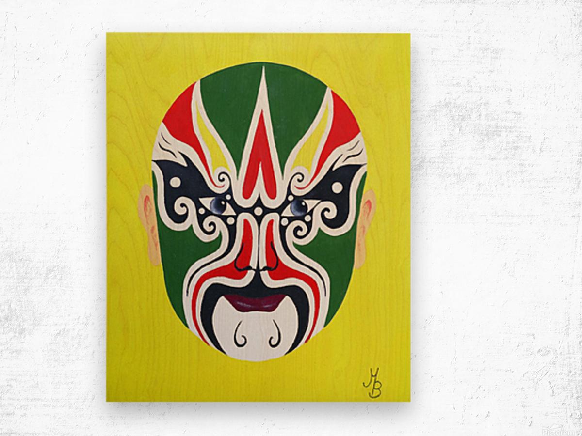 Cheng Yaojin - Chinese Opera Mask Wood print