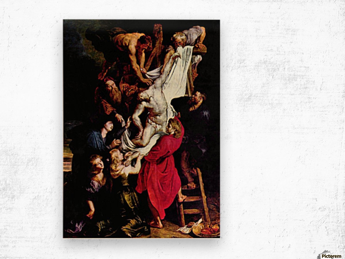 Cross, Triptych, Middle panel of Crucifixion by Rubens Wood print