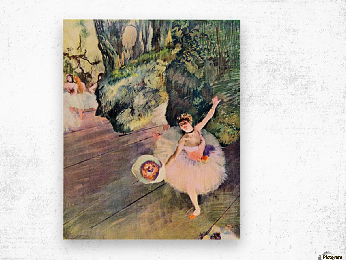 Dancer with a bouquet of flowers (The Star of the ballet) by Degas Wood print