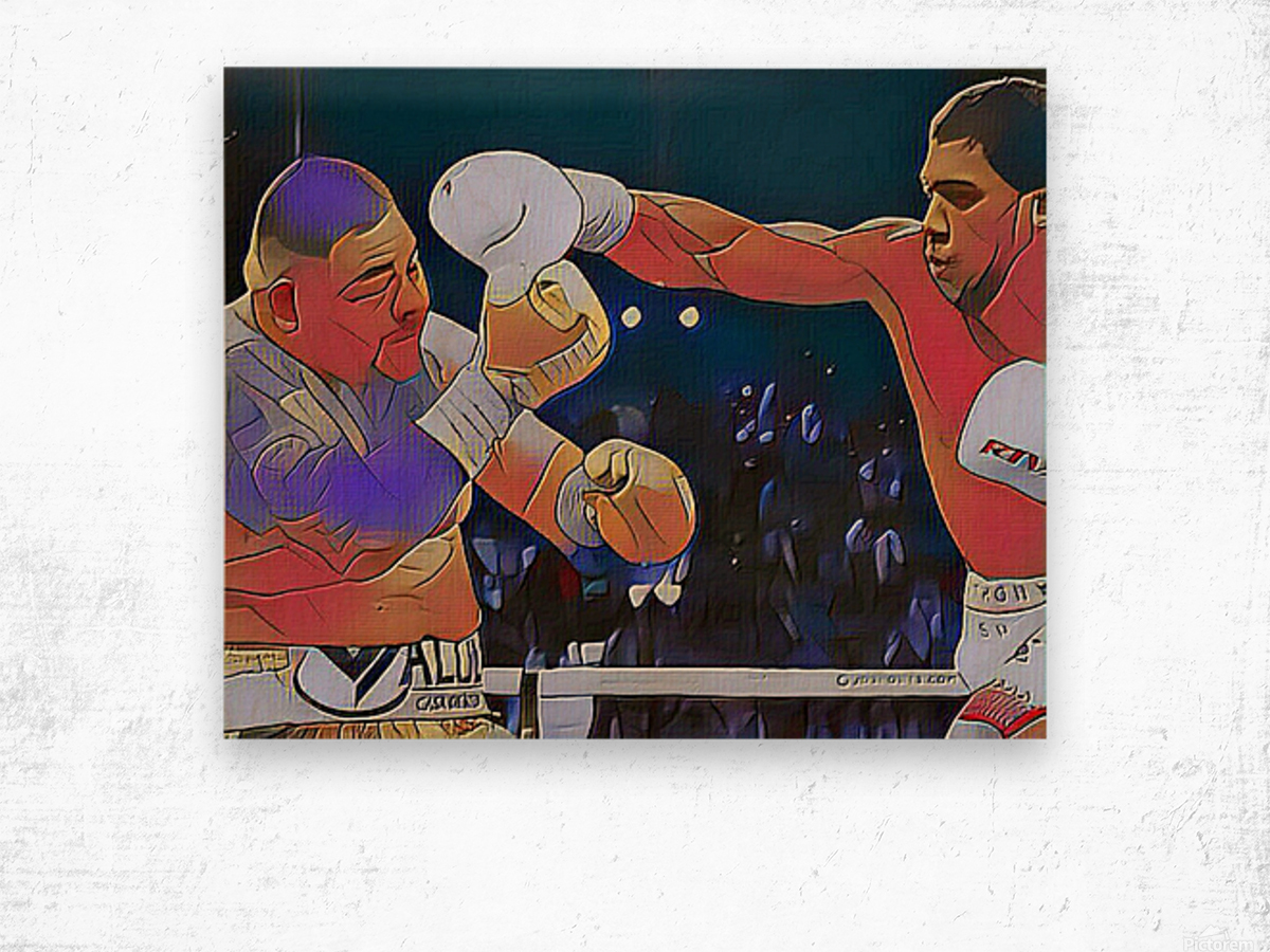 Big Fight Wood print