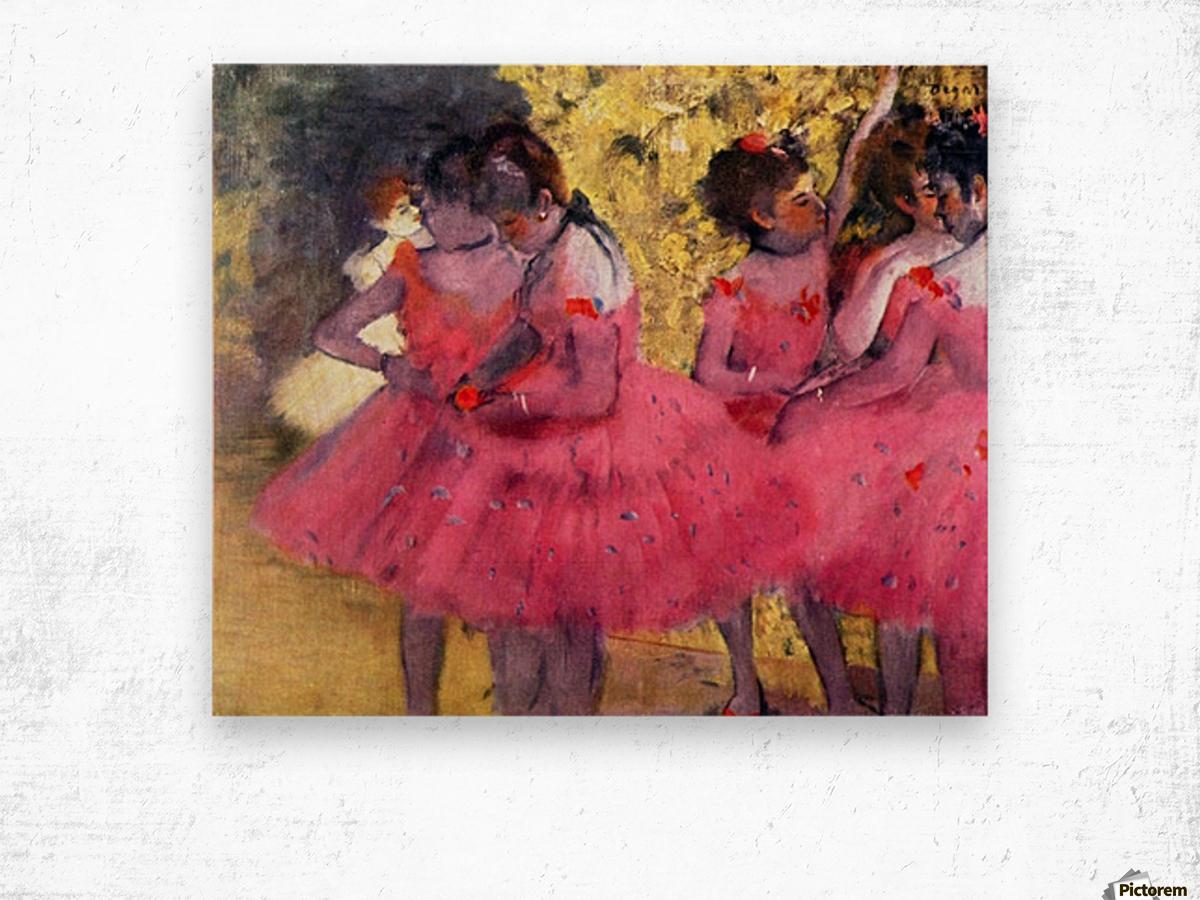 Dancers in pink between the scenes by Degas Wood print