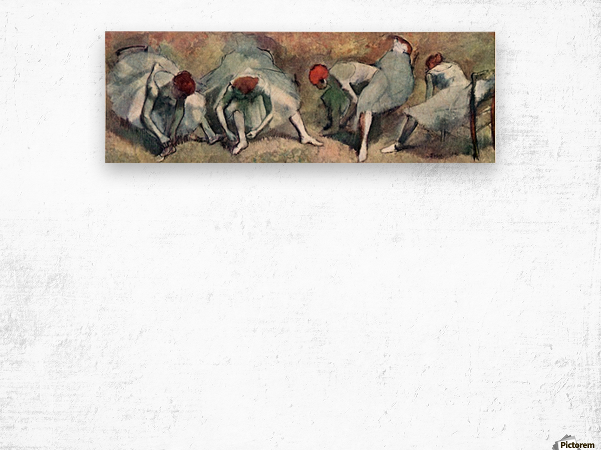 Dancers lace their shoes by Degas Wood print