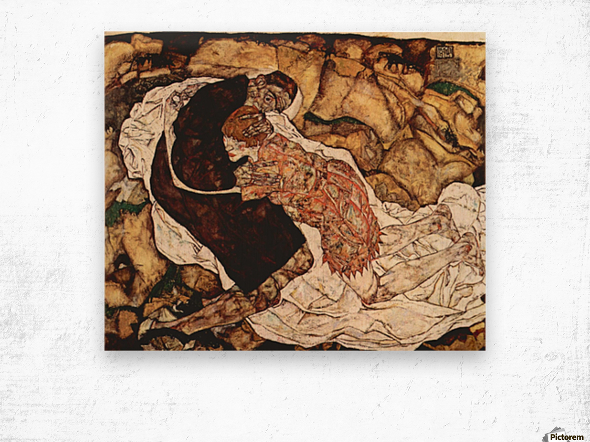 Death and the Woman by Schiele Wood print