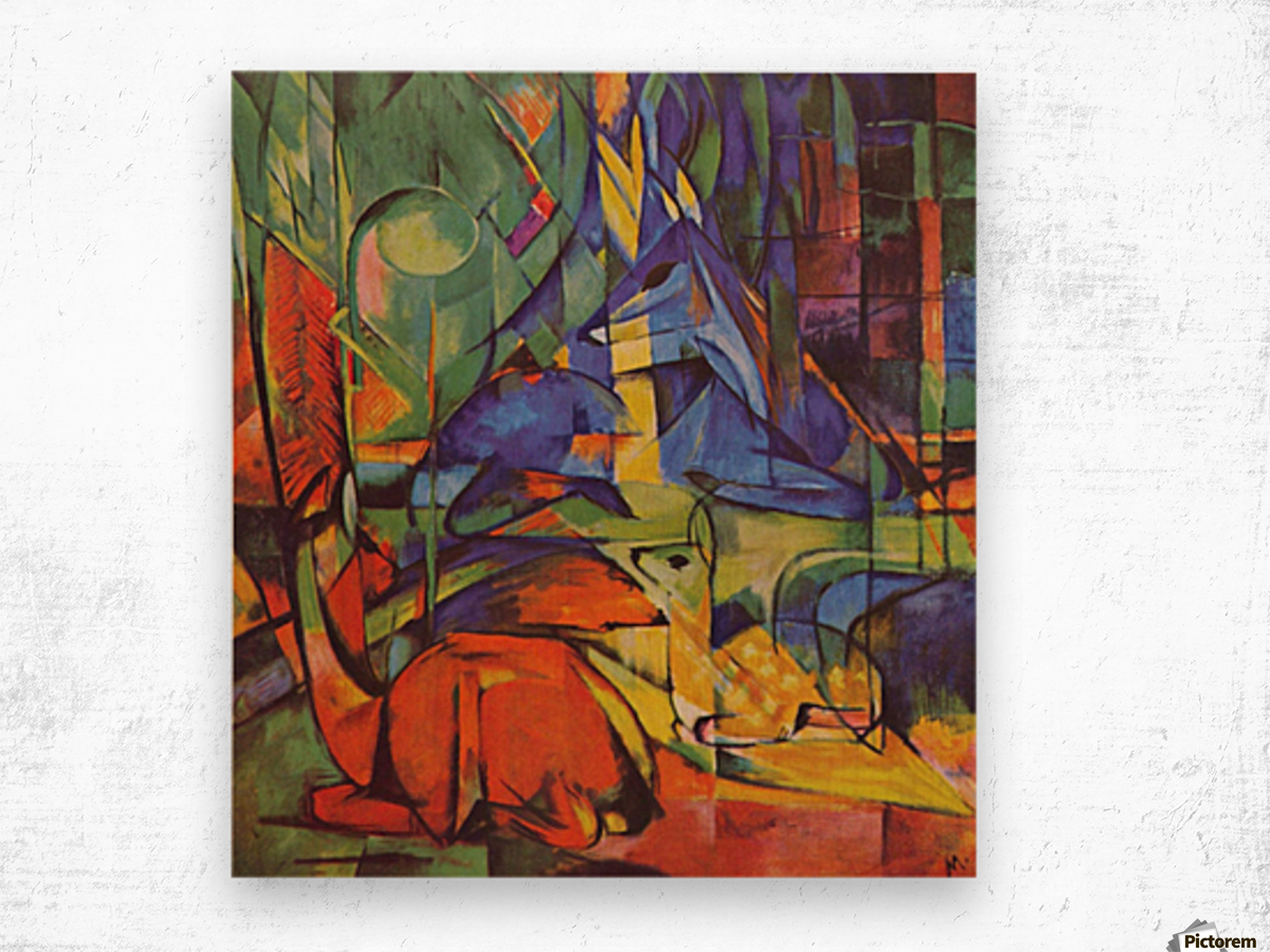 Deer in Forest by Franz Marc Wood print