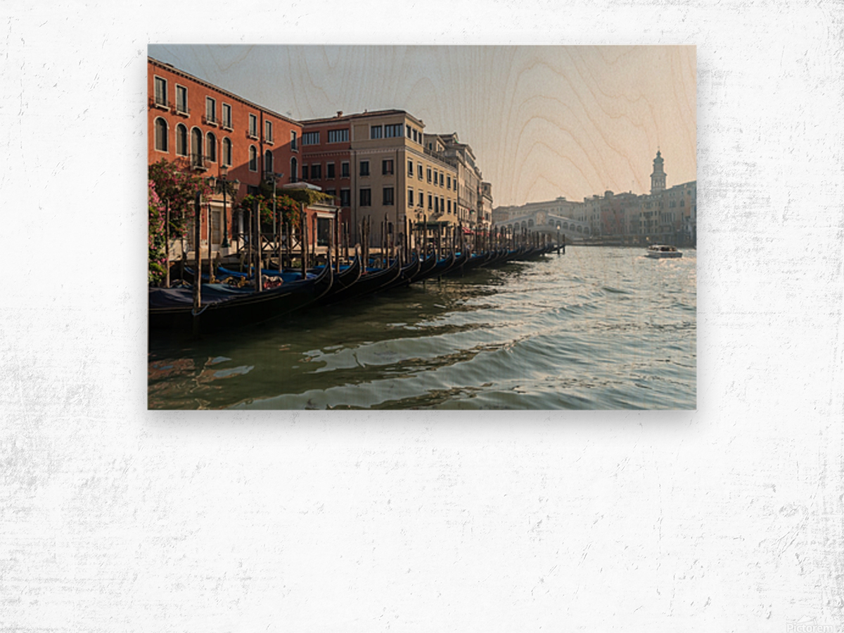 Classic Venetian - Glossy Gondolas And Ripples On The Grand Canal Wood print