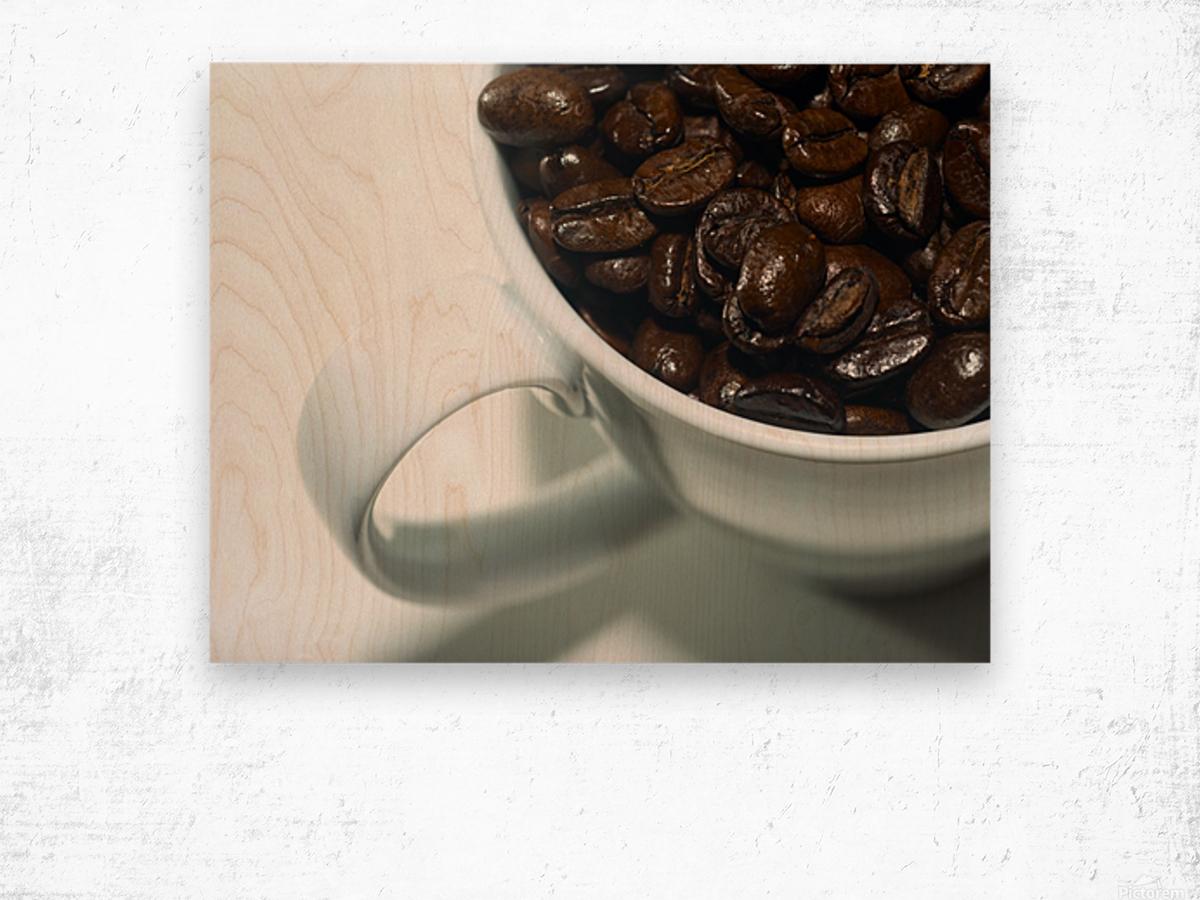 Coffee Beans in white mug Wood print