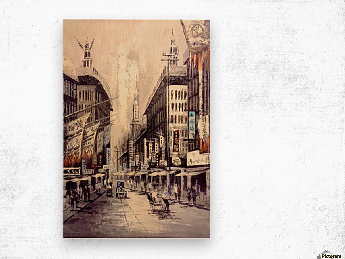 Old Hong Kong Street View Wood print
