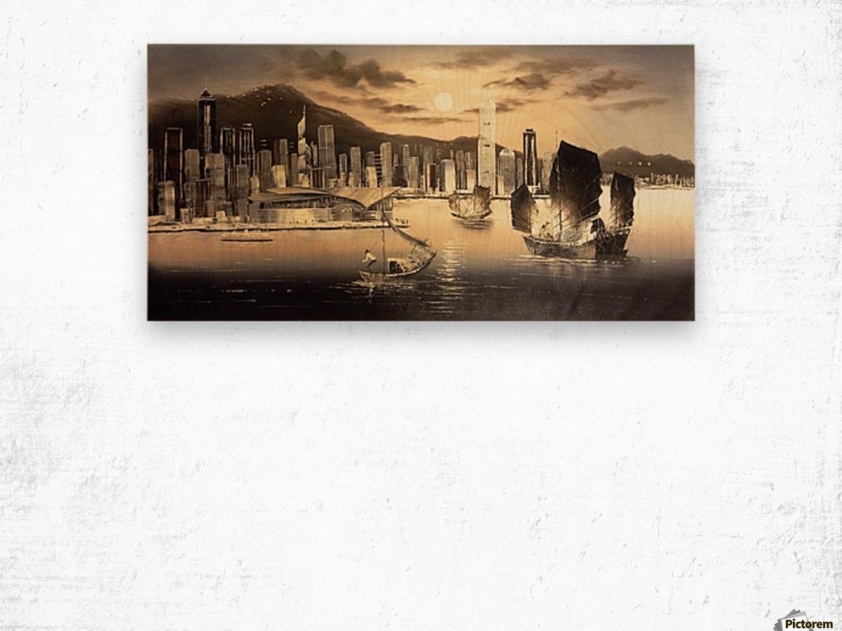 Hong Kong Harbor Skyline Wood print