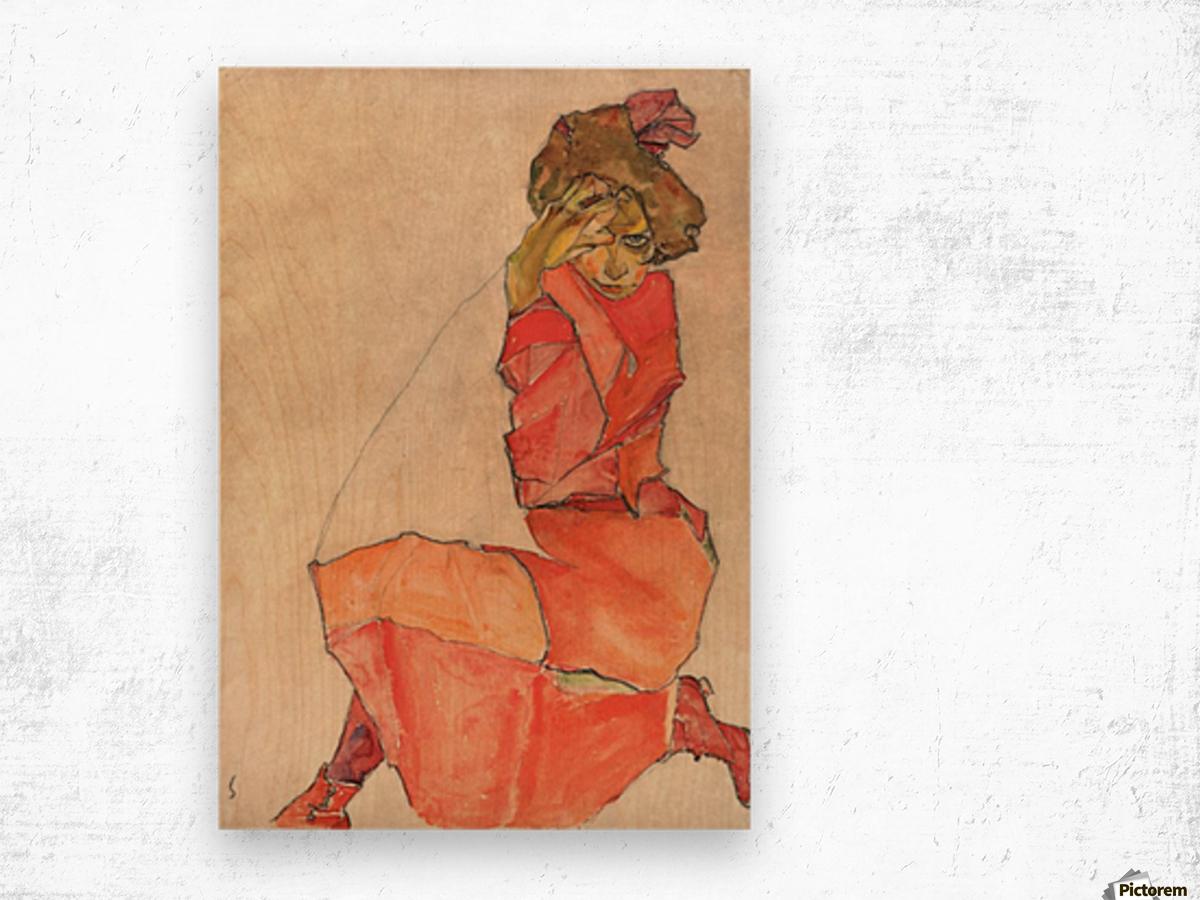 Egon Schiele - Kneeling Woman in Orange-Red Dress Wood print