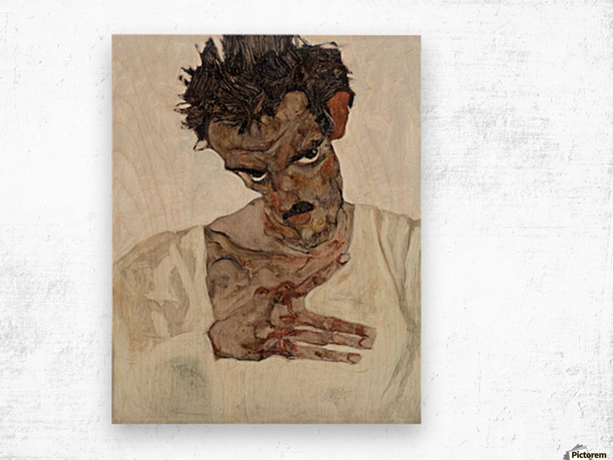 Egon Schiele - Self-Portrait Wood print
