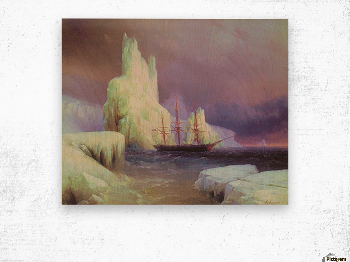 Icebergs in Antarctica Wood print