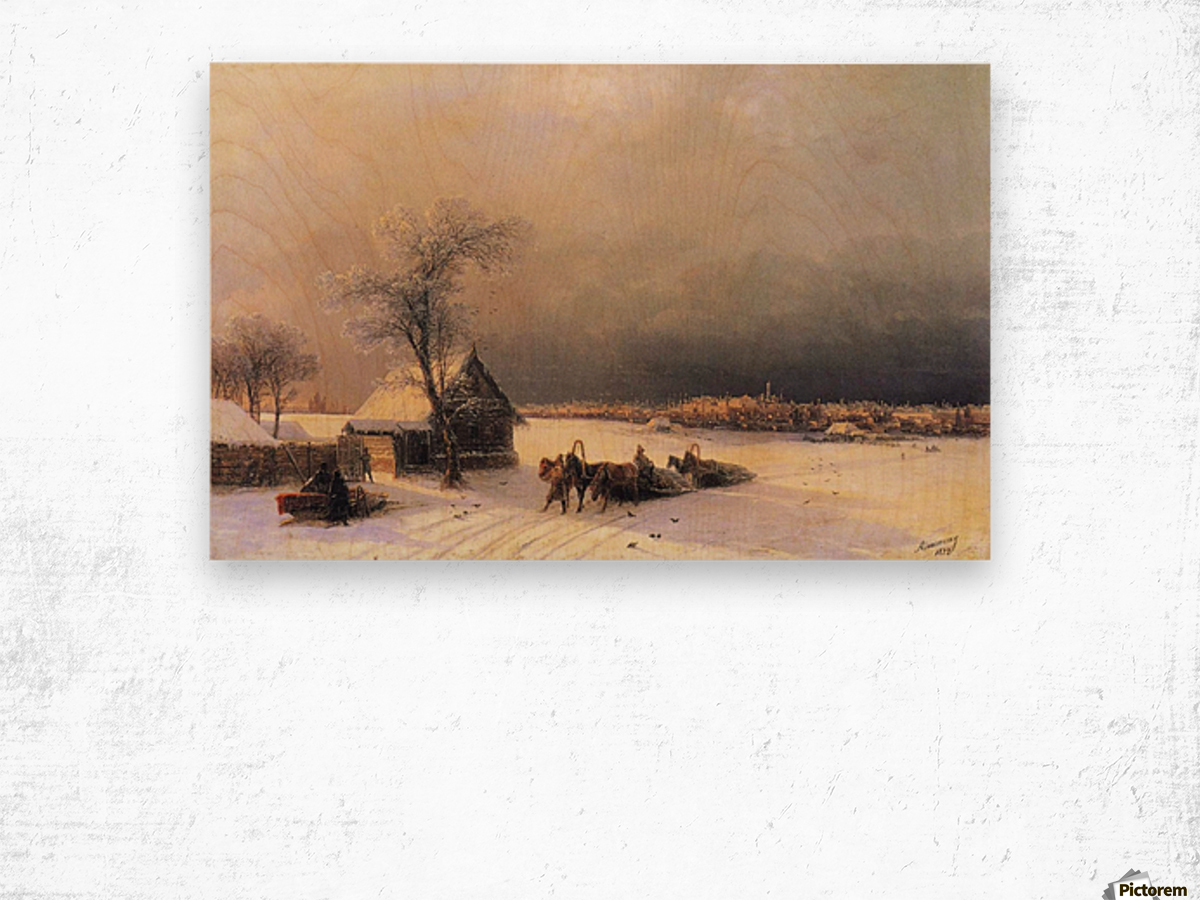 Moscow in Winter from the Sparrow Hills Wood print