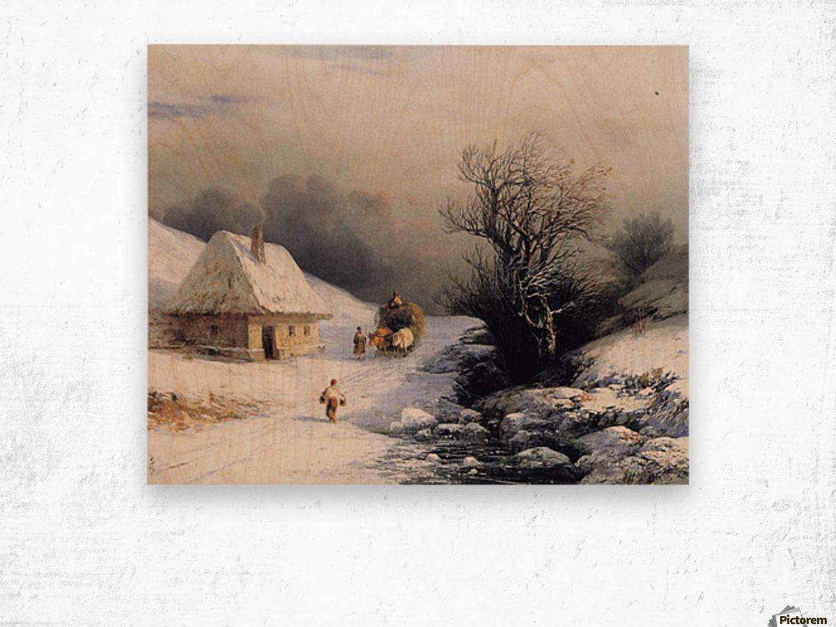 Little Russian Ox Cart in Winter Wood print