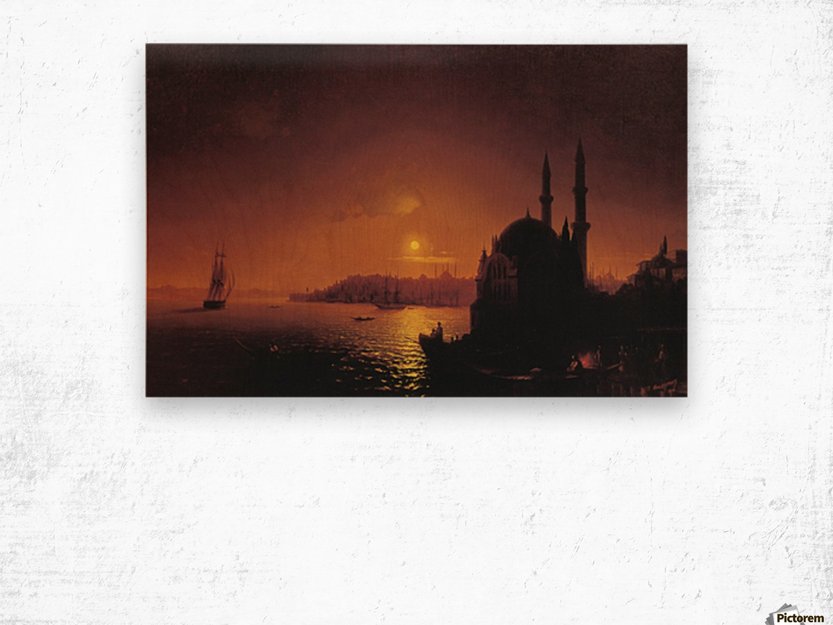 View of Constantinople by Moonlight Wood print