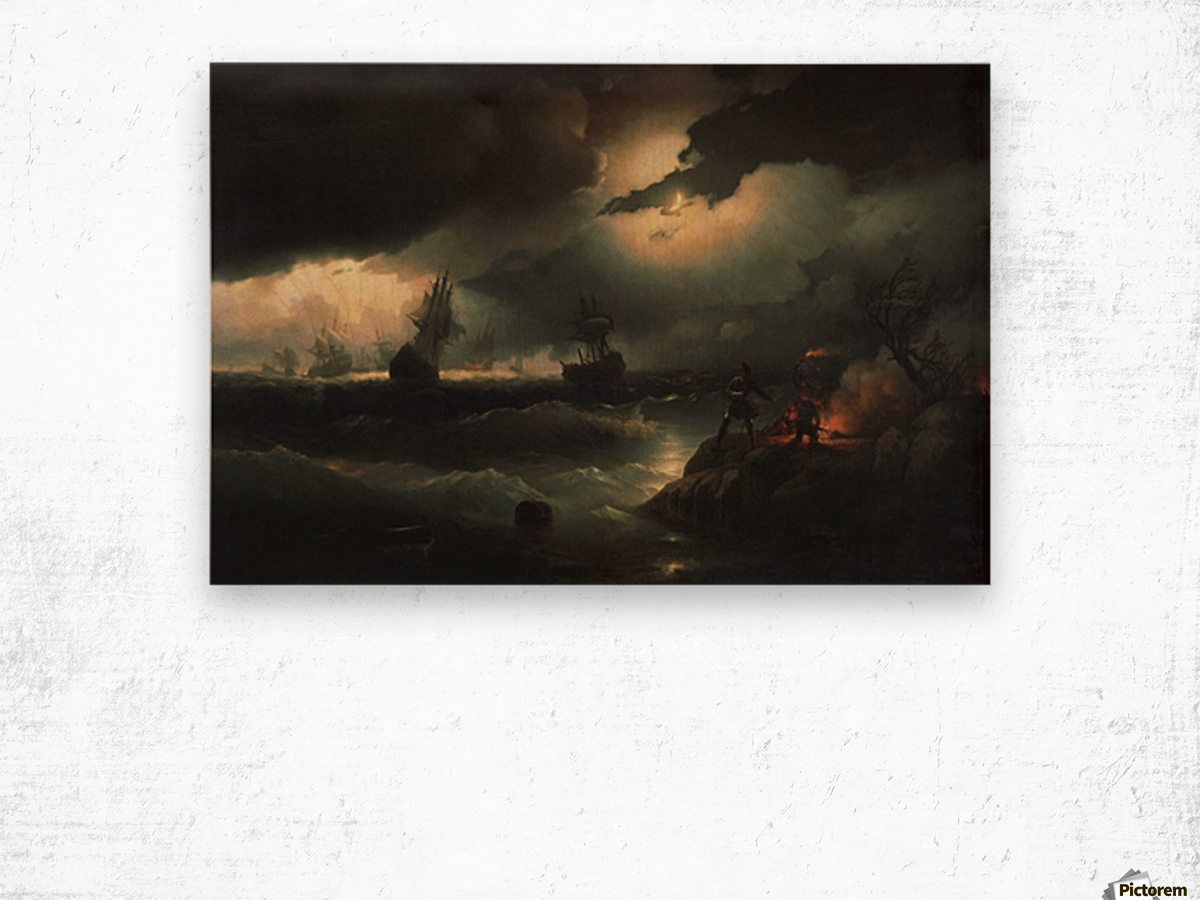 Peter I at Krasnaya Gorka Setting Fire on the Shore to Give a Signal to his Perishing Vessels Wood print