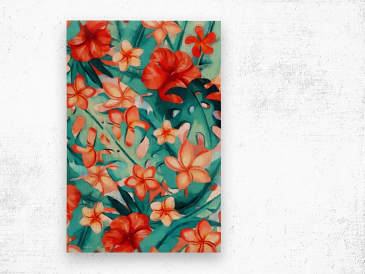 Vibrant Tropical Floral  Wood print