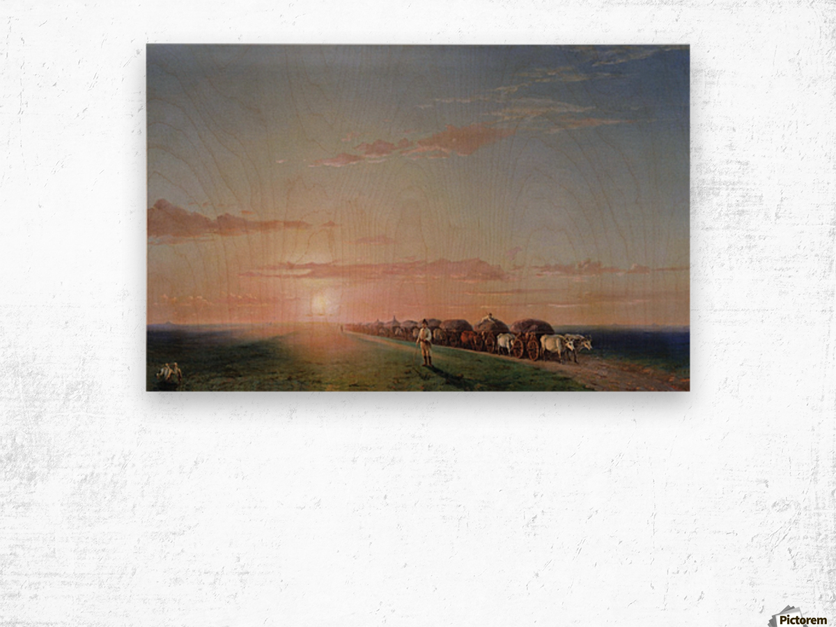 Ox train on the steppe Wood print