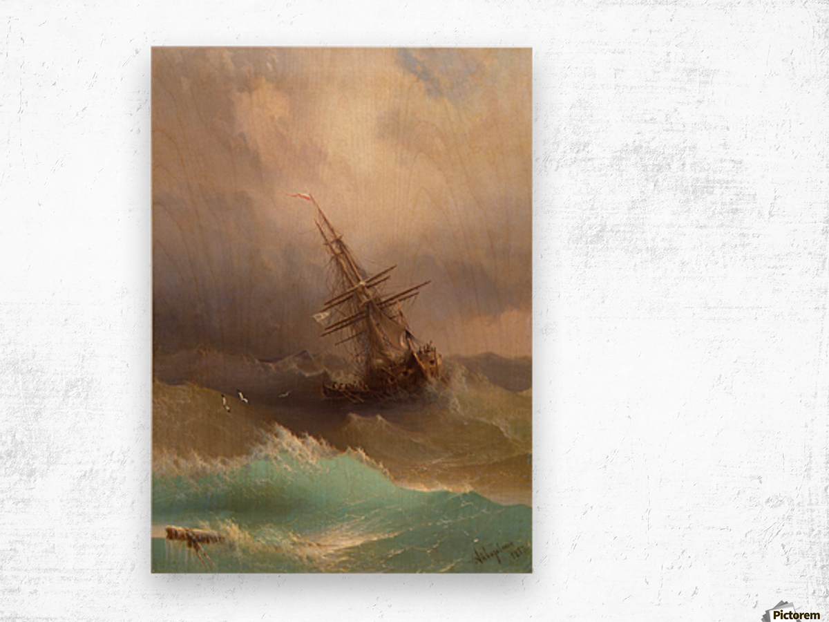 Ship in the Stormy Sea Wood print