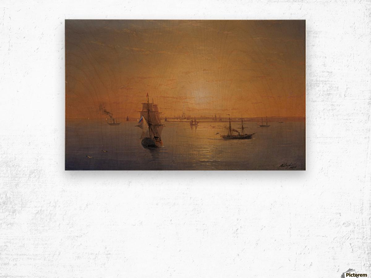 Russian Fleet at Sunset Wood print