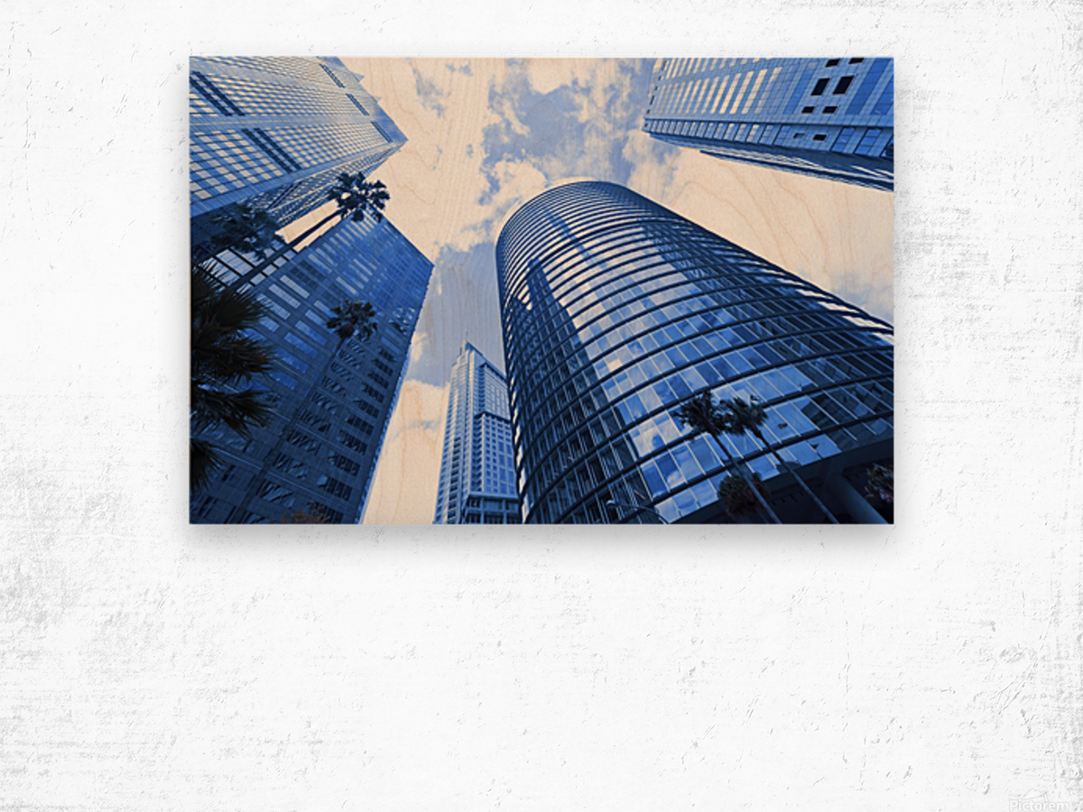Skyscrapers reflections clouds Wood print