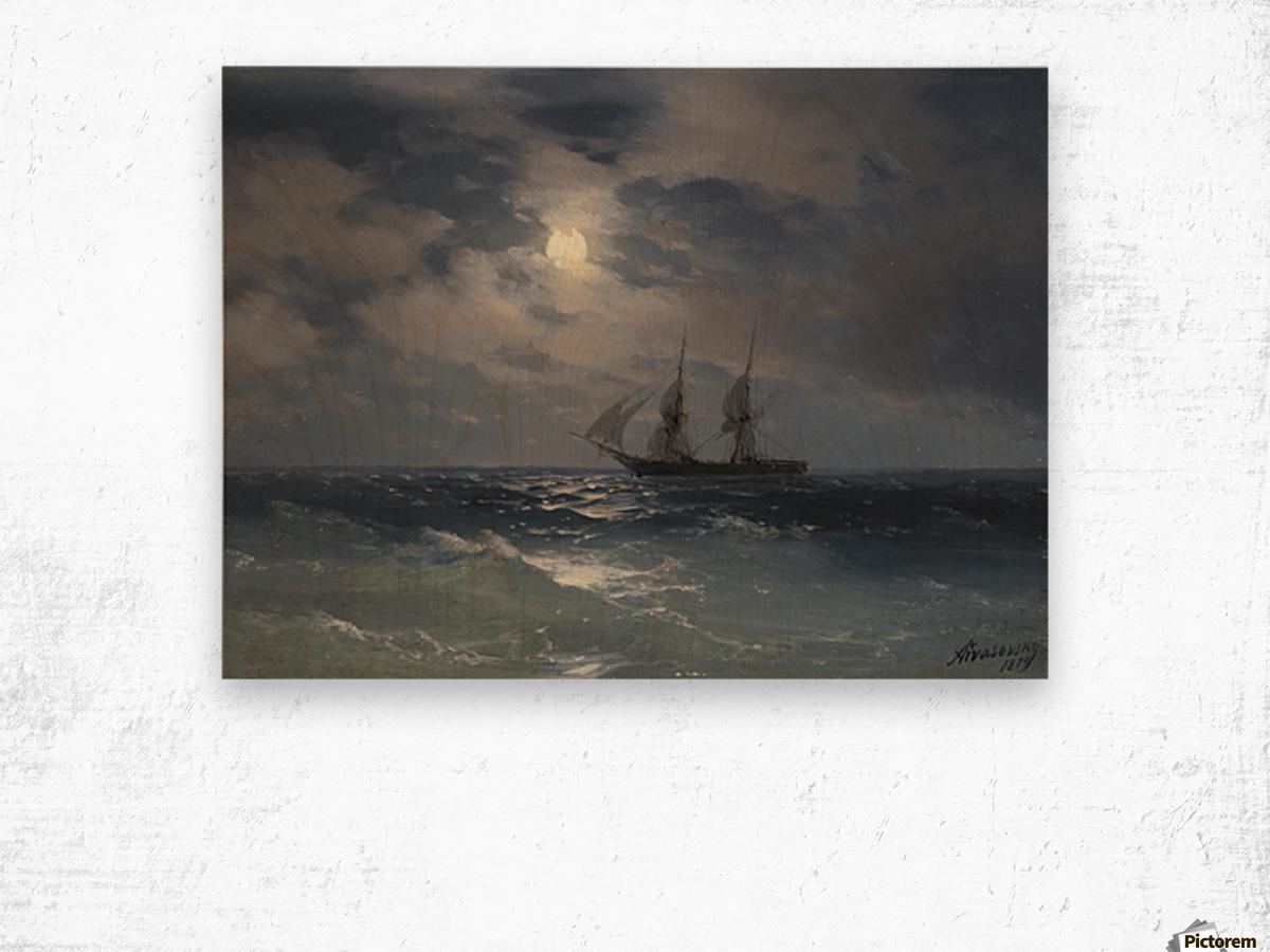 The Brig Mercury in moonlight Wood print