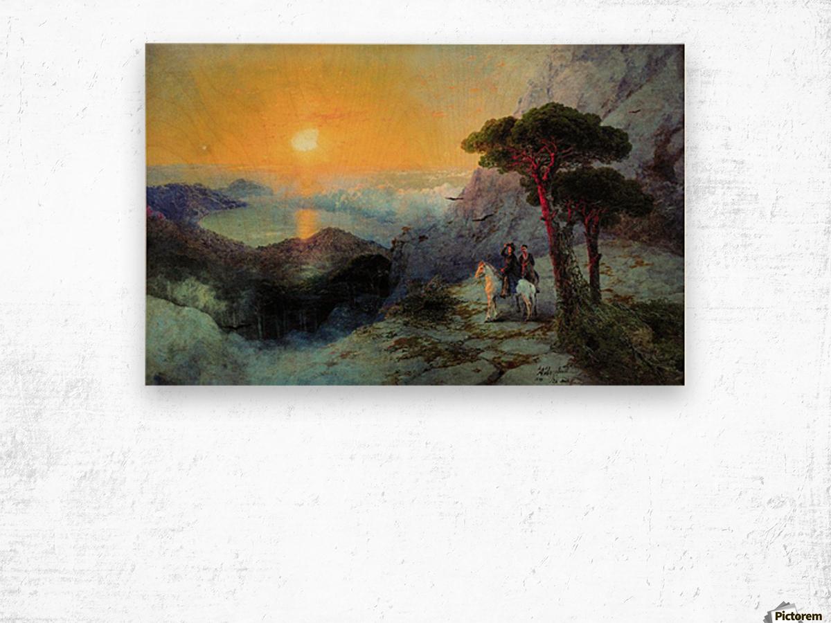 On top of the Ai-Petri Mountain at sunrise Wood print