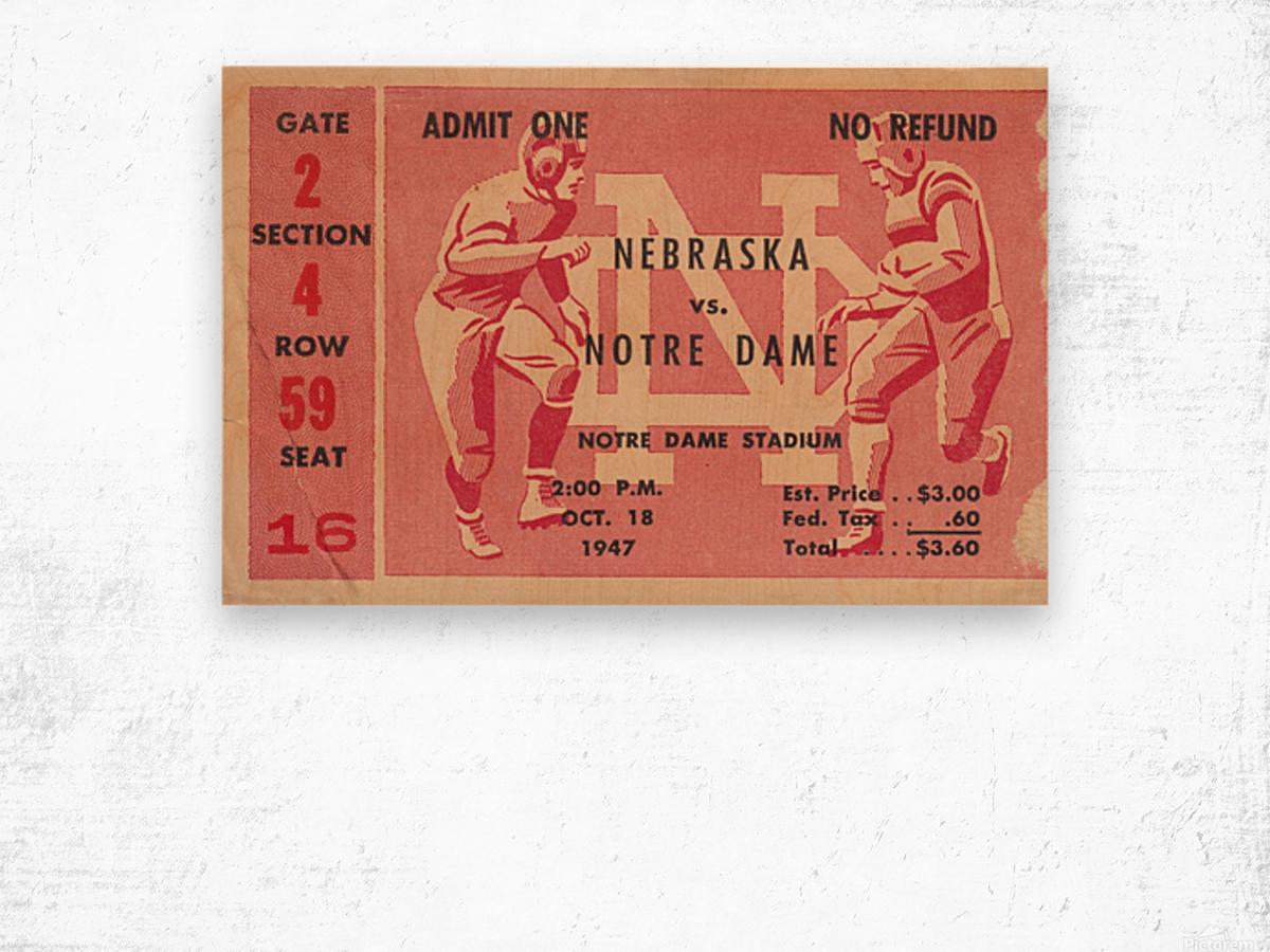 1947 Nebraska vs. Notre Dame Wood print