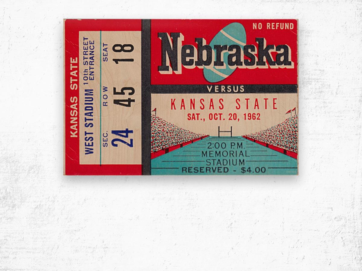 1962 Kansas State vs. Nebraska Cornhuskers Ticket Stub Wood print