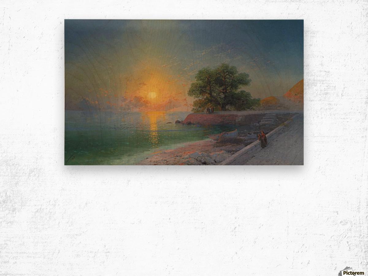 Promenade at sunset Wood print