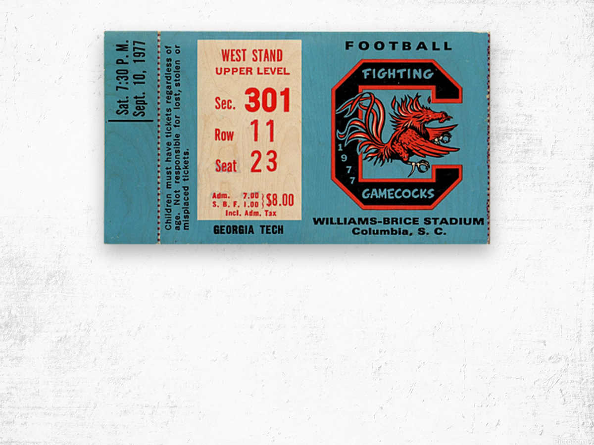 1977_College_Football_Georgia Tech vs. South Carolina_Williams Brice Stadium_Row One Brand Wood print