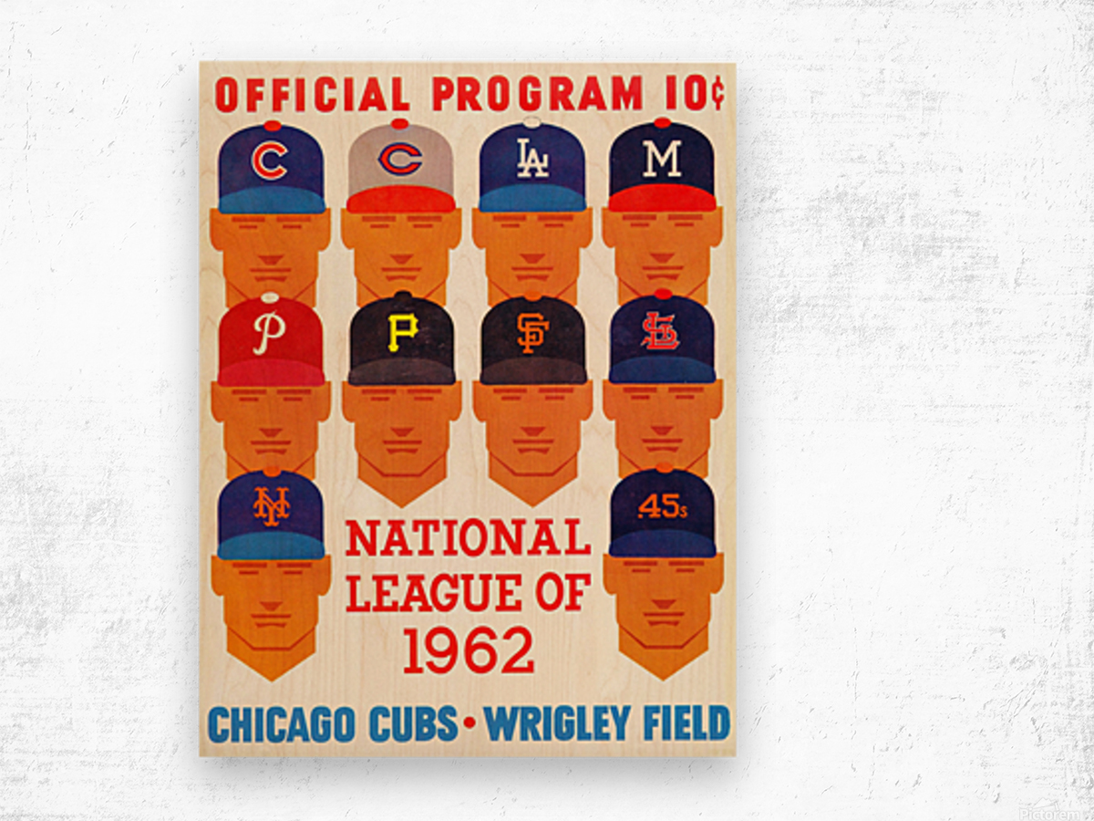 1962_Major League Baseball_Chicago Cubs_Program_Wrigley Field_Row One Brand Wood print