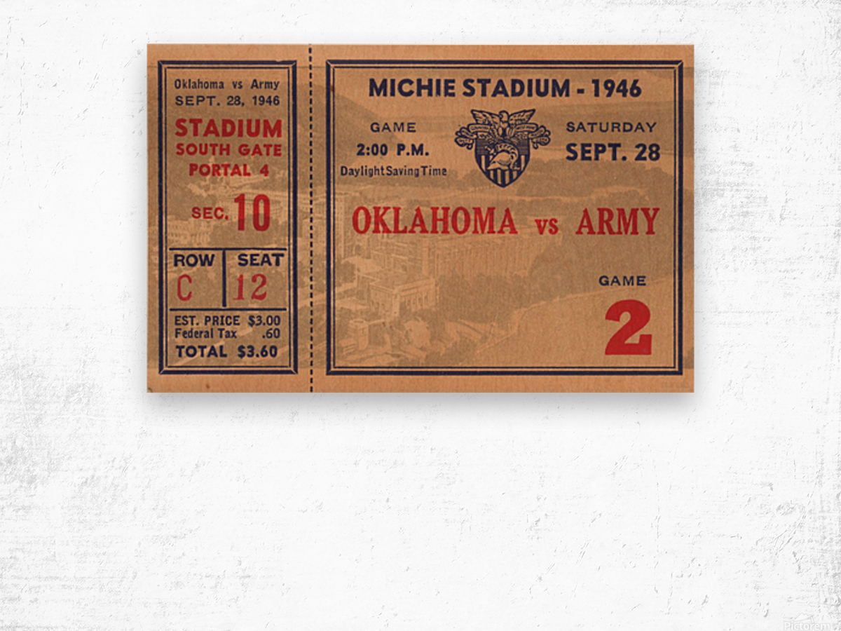 1946_College_Football_Oklahoma vs. Army_Michie Stadium_West Point_New York_Row One Brand Wood print