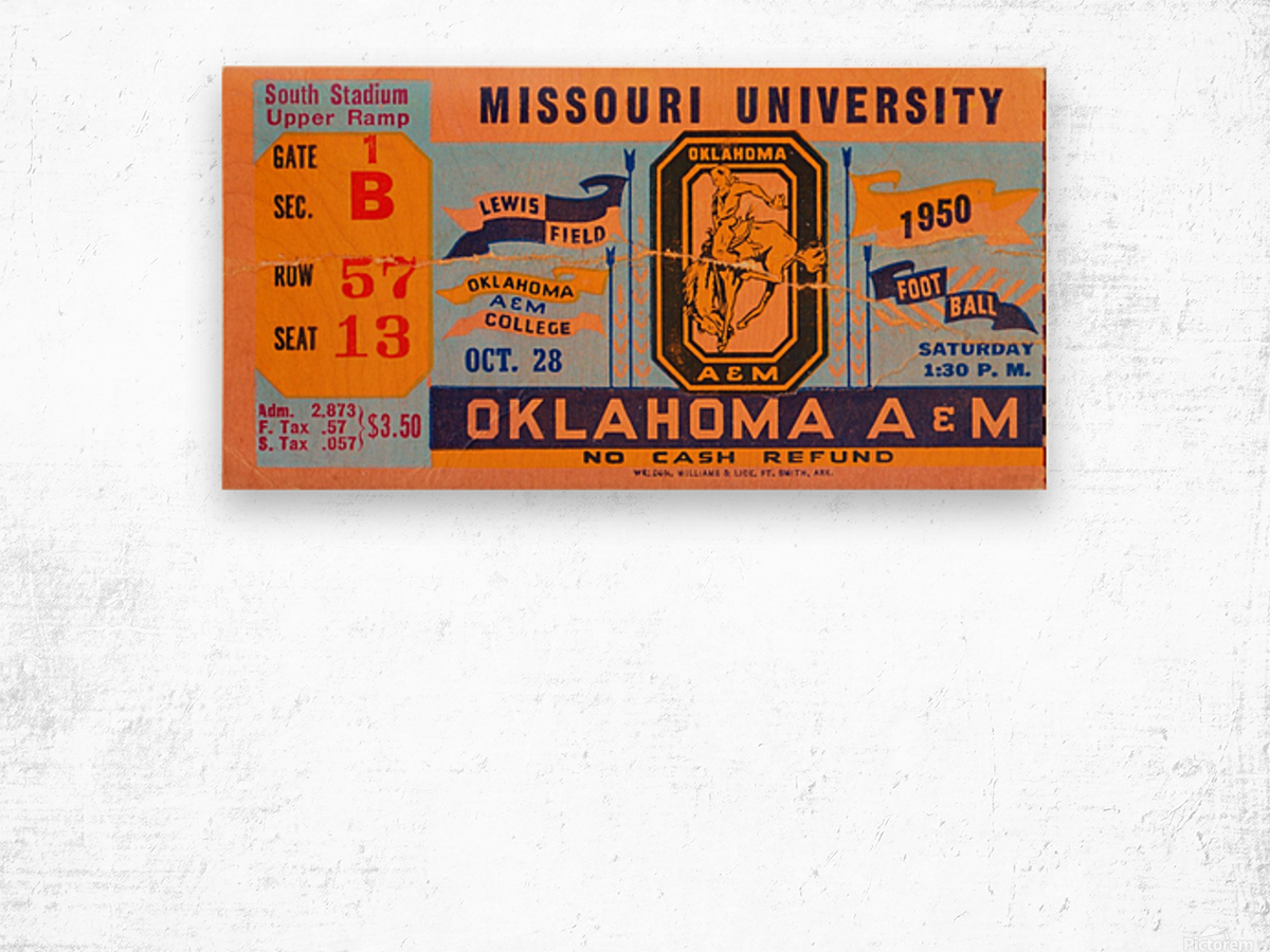 1950_College_Oklahoma vs. Oklahoma State_Lewis Field_Stillwater_Row One Brand Wood print