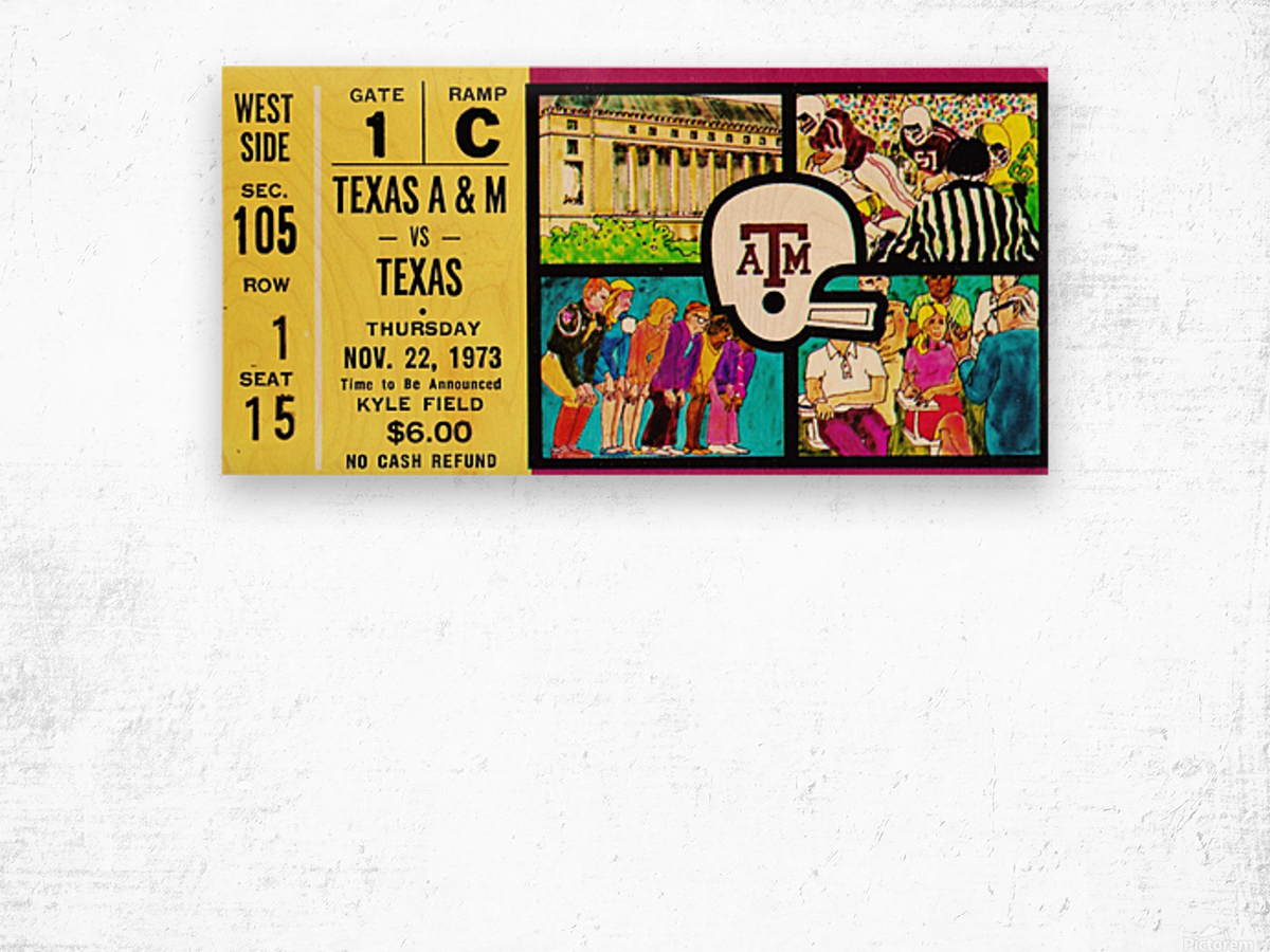 1973_College_Football_Texas vs. Texas A&M_Kyle Field_College Station_Row One Brand Wood print