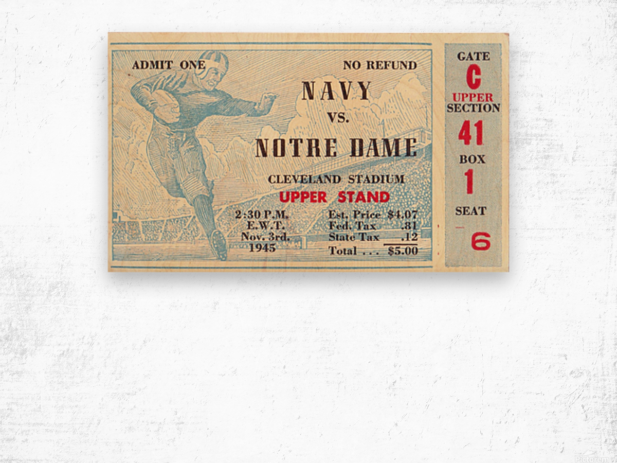 1945_College_Football_Navy vs. Notre Dame_Cleveland Stadium_Row One Brand Notre Dame Wood print