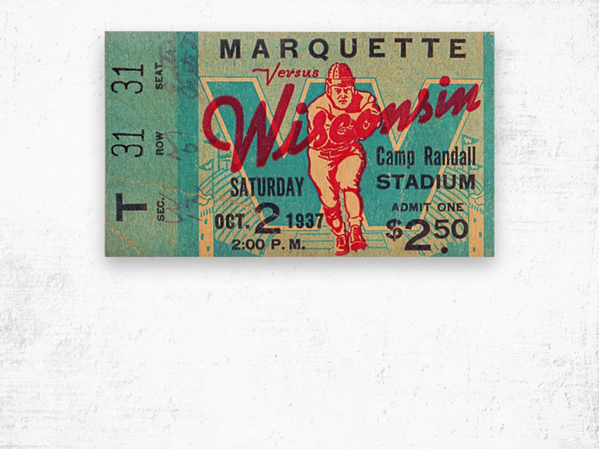1937_College_Football_Marquette vs. Wisconsin_Camp Randall Stadium_Madison_Row One Tickets Row 1 Wood print