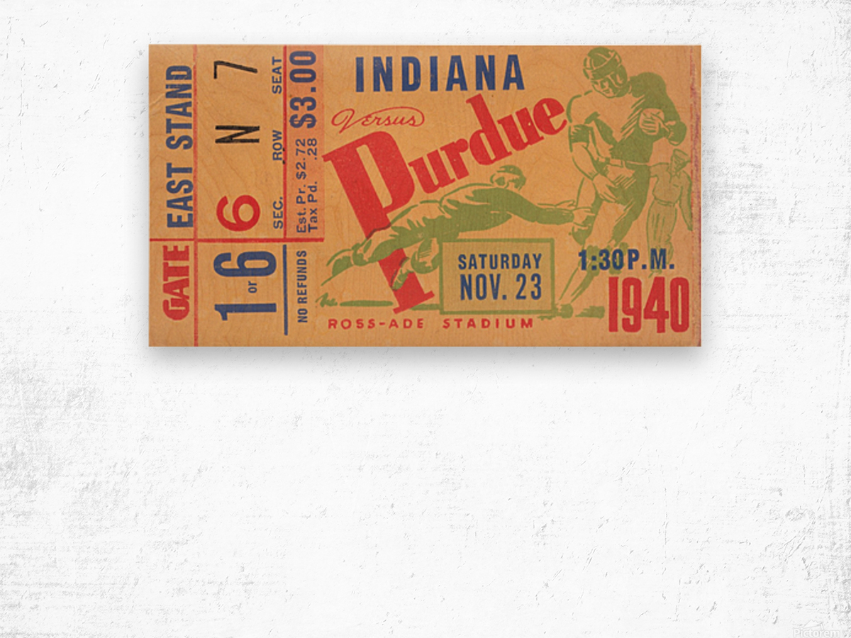 1940 Indiana vs. Purdue Football Ticket Canvas Wood print