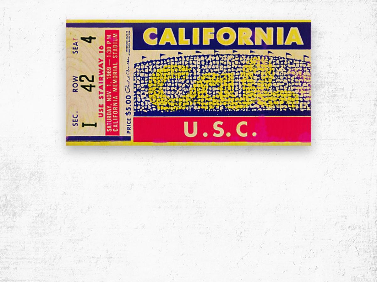 1969 Cal Bears Ticket Stub Wood print