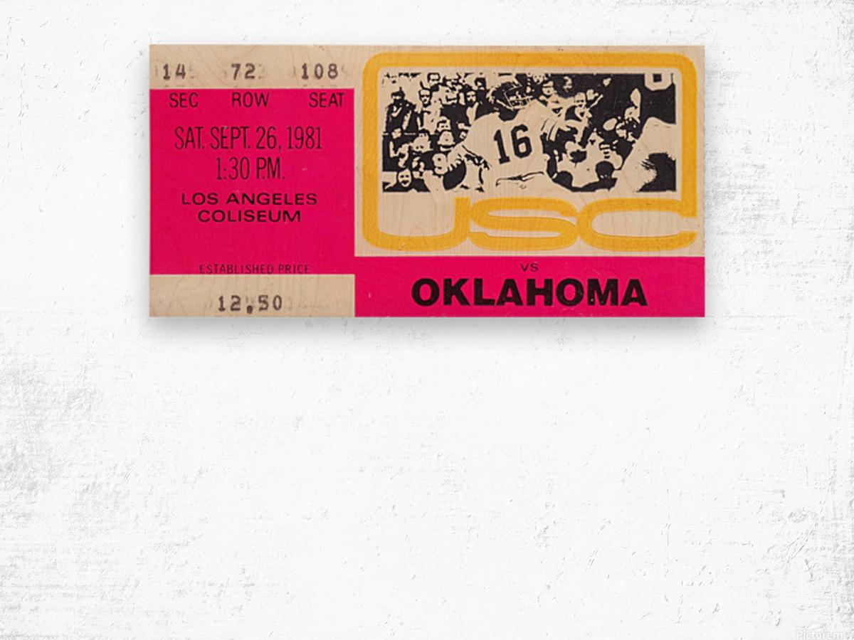 1981_College Football Art_USC vs. Oklahoma_Los Angeles Coliseum_College Football Rivalry Ticket Wood print