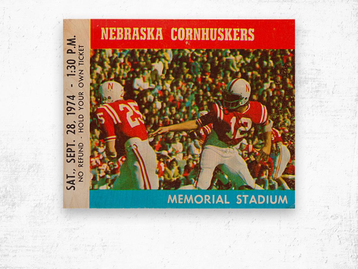 college football ticket art nebraska cornhuskers 1974 ticket stub Wood print
