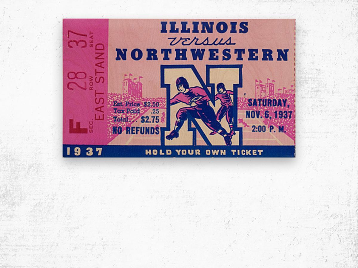 1937_College Football Collection_Northwestern vs. Illinois_Historic Dyche Stadium Evanston_Ticket Wood print