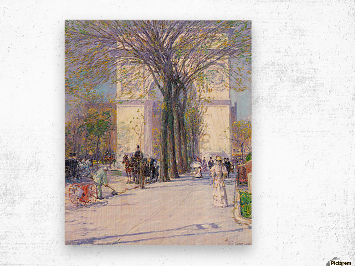 Washington triumphal arch in spring by Hassam Wood print