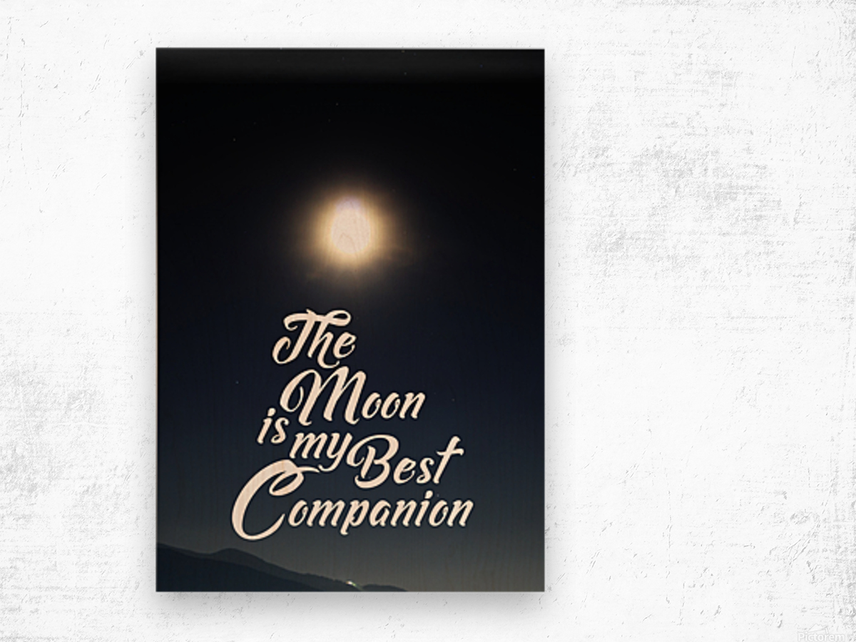 The Moon is Best Companion Wood print