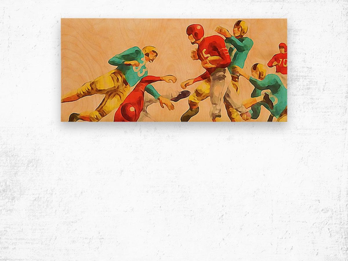 Vintage 1950s Football Art Print Wood print