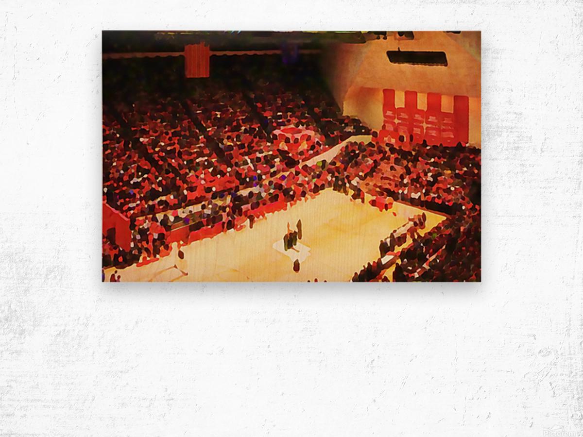 1987_College_Basketball_Indiana Hoosiers_Bloomington Assembly Hall Watercolor Basketball Art Print Wood print