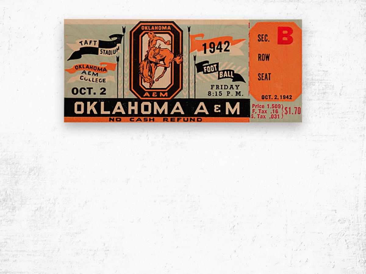 Oklahoma A&M Aggies Football Ticket Stub Art OSU Cowboys Ok State College Football Art Wood print