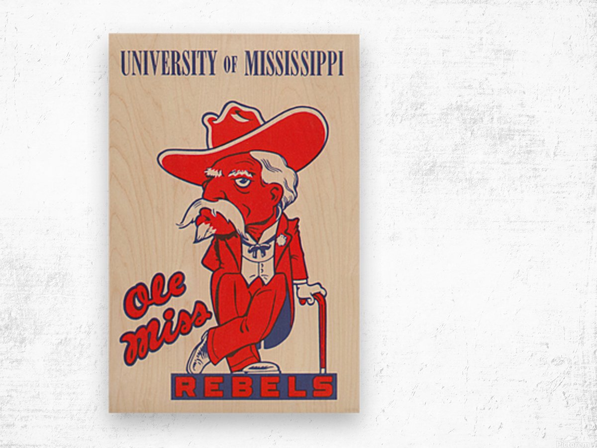 1975 College Mascot Art Reproduction University of Mississippi Ole Miss Rebels_Colonel Reb Art (1) Wood print
