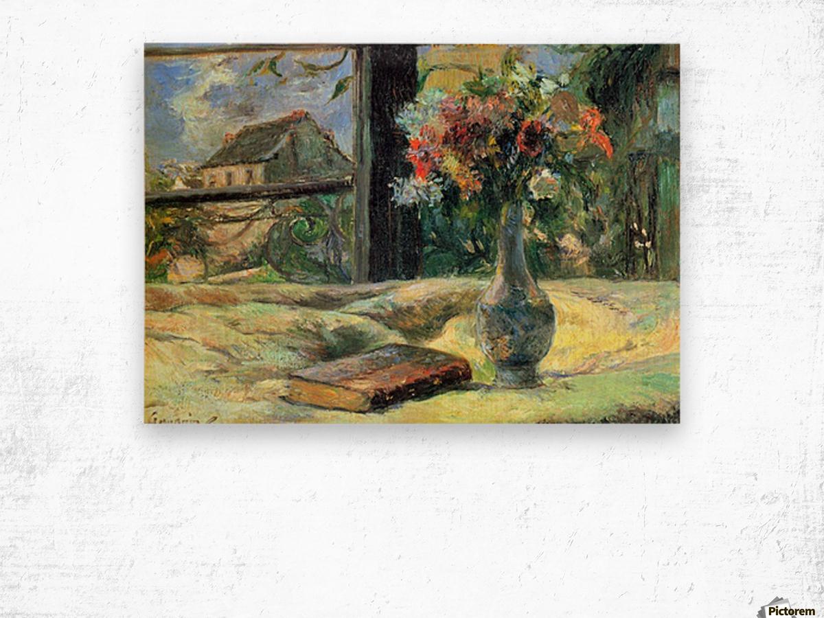 Flower Vase in Window by Gauguin Wood print